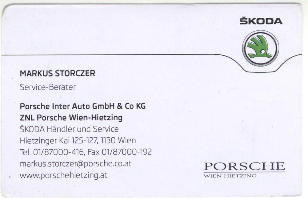 Visitenkarte Markus Storczer Porsche Wien Hietzing Flickr