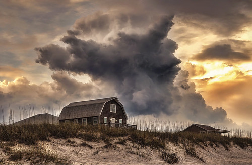 north carolina beach ocean storm thunderstorm weather severe clouds hdr