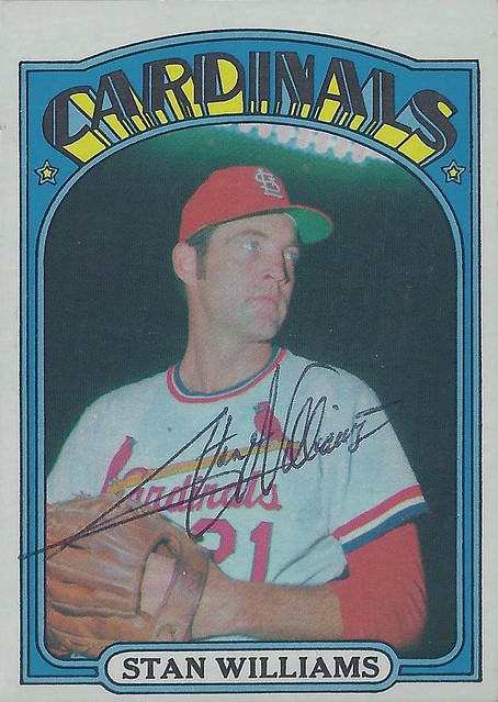 1972 Topps - Stan Williams #9 (Pitcher) - Autographed Baseball Card (St. Louis Cardinals)