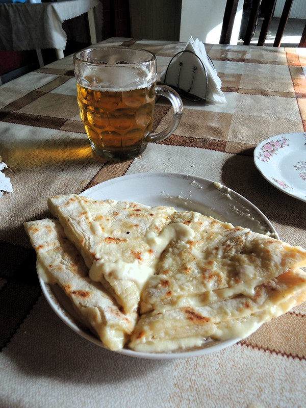Quesadillas and a beer, but they call it hachapuri in Georgia by bryandkeith on flickr