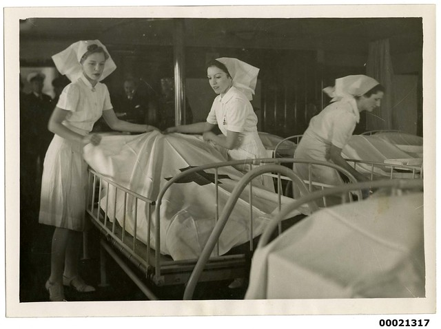 Three nurses on board hospital ship TSS ORANJE II, June 1941