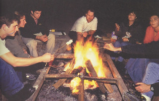 Then Associate Professor of Physics Bryan Penprase hosts a bonfire and reading for students from his Archeoastronomy and World Cosmology class in November 1999 for a spring 2000 Pomona College Magazine issue.