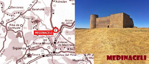 Mapa y castillo de Medinaceli (Soria)