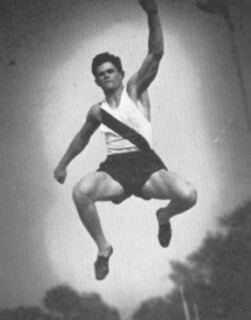 Robert Fernandes '41 broke 24 feet in the long jump for the men's track and field team. (Shown doing the broad jump in this Metate photo.)