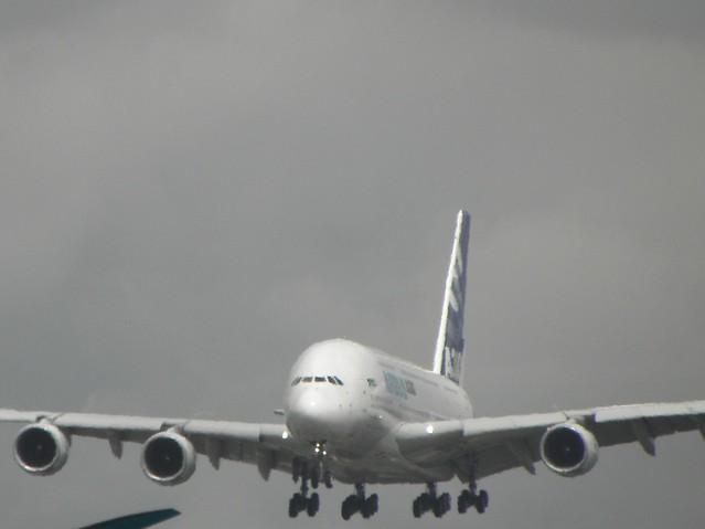 An Airbus A380 lands