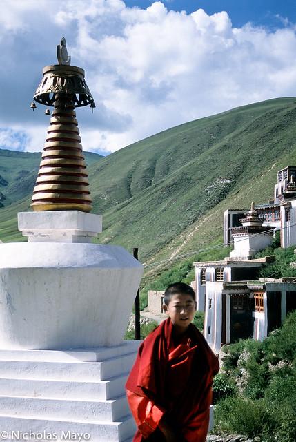 Young Monk & Stupa