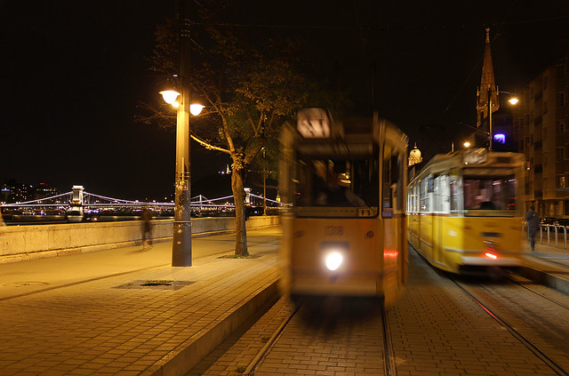 Budapest Batthyany square - trams arriving and leaving