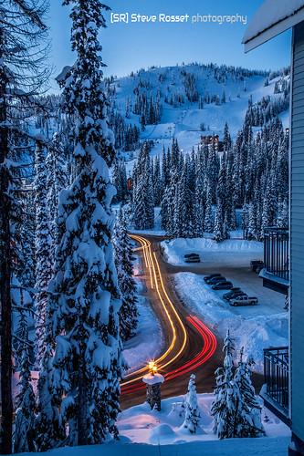 road blue trees winter mountain canada ski cold art night forest landscape lights twilight skiing bc lift steve powder resort magical silverstar rosset enchanting lightrails