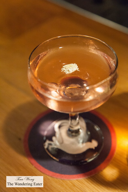 Cocktail # 5 - Ketel One Vodka, El Jolgorio Tepeztate, Dolin Blanc, chamomile, green chili, Suze red aromatic bitters