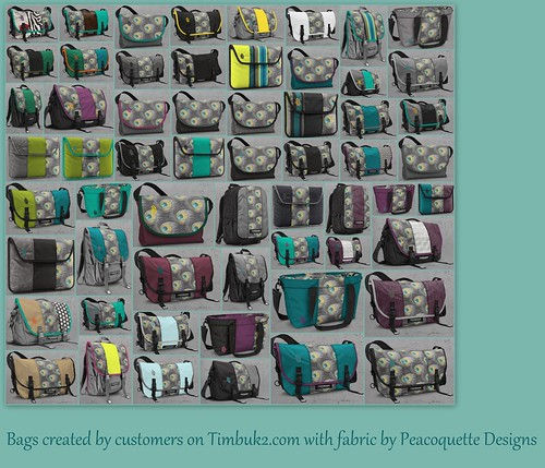 Bags created on the Timbuk2 website made with my fabric | by PeacoquetteDesigns