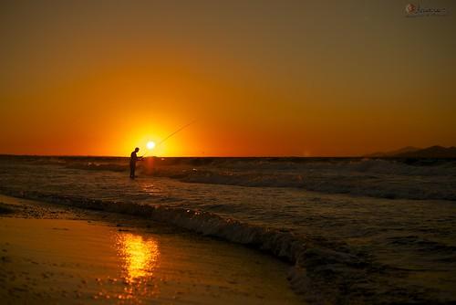 sunset sea sun color fishing fisherman kosisland nikond800