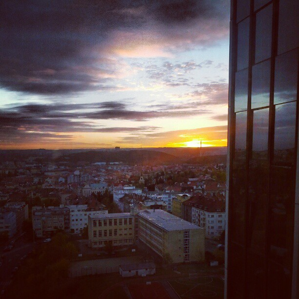 Sunrise in Prague from Corinthia Tower