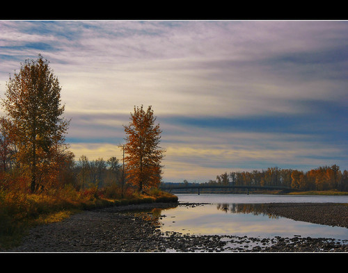 morning bridge autumn trees sky nature water grass clouds sunrise canon reflections river rocks peace structure foliage shore bushes davidsmith calgaryalbertacanada eos60d