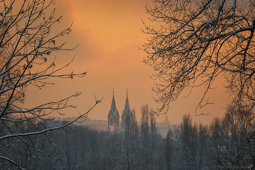 church towers at sunset
