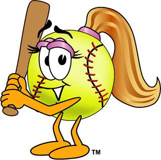 Softball cartoon. Clipart illustration of female