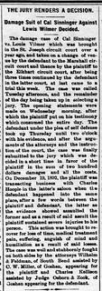 1894 - Cal Sinninger wins lawsuit vs Louis Vilmer - Enquirer - 16 Mar 1894 | by historic.bremen