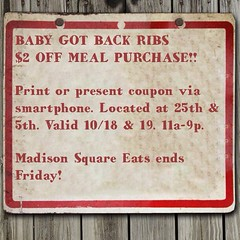 Coupon valid all day! $2 off meal purchase, now until 9pm. 25th & 5th #madsqeats #mcrib #spicymole #ribsribsribs