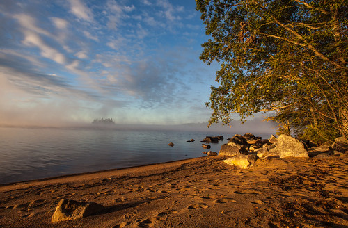 beach sunrise maine lakesebago