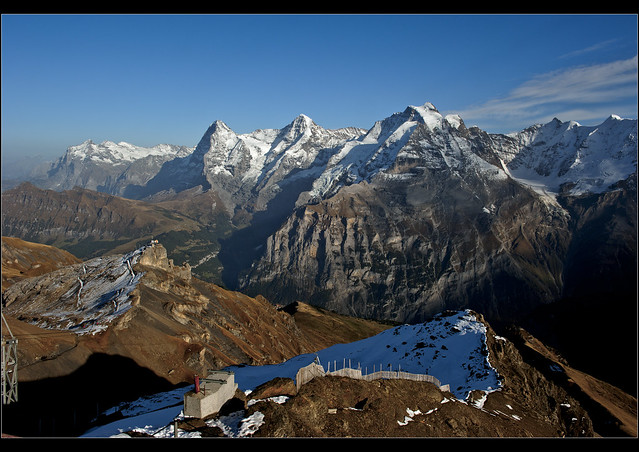 A view from The Schilthorn (2.970 m) / Piz Gloria  to the Jungfrau Eiger & Mönch . October 22, 2012. No. 9949.