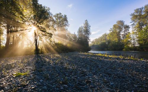 morning light sun nature sunrise river rocks bluesky pacificnorthwest carnation washingtonstate canoneos5dmarkiii canonef1635mmf4lis yextwashington johnwestrock wallpaper background