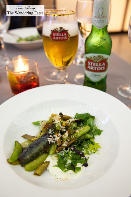 Guisantes Lagrimas - Grilled and fresh sugar snap peas, citrus vinaigrette, fresh herbs, paired with Stella Artois beer