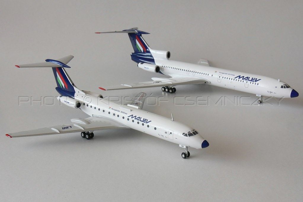 MALEV Tu-134 and Tu-154 scale models (1:200)   Malév Hungari…   Flickr