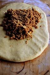 cinnamon bun dough with sugar