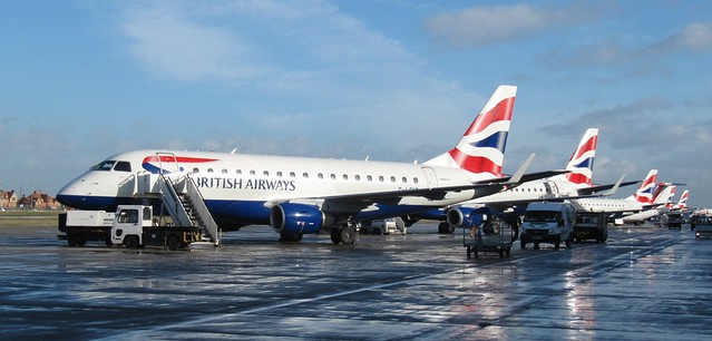 A wet, but sunny, day at London City Airport