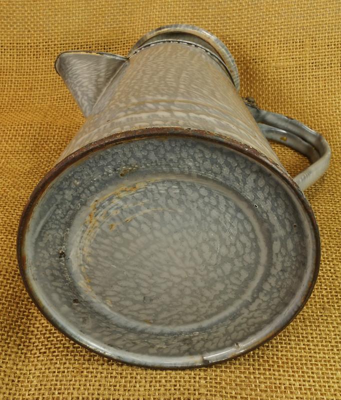 SOLD - Antique Small Graniteware Gray Coffee Pot Farmhouse