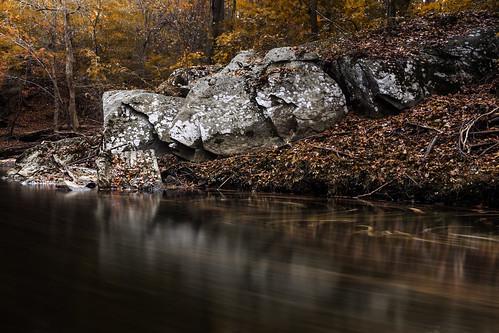 stream leaves trails granite forest boulders autumn fall rockcreek longexposure singhray neutraldensity varintrio nature patterns colors sliderssunday