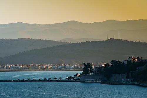 morning travel mountains sunrise island dawn town cruising greece seaport approaching peloponnese hillsides aegeansea navplion lionfrr mygearandme