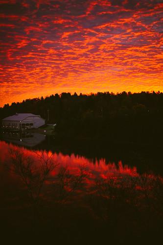 park red sky reflection water clouds sunrise dawn newbrunswick saintjohn rockwood lilylake