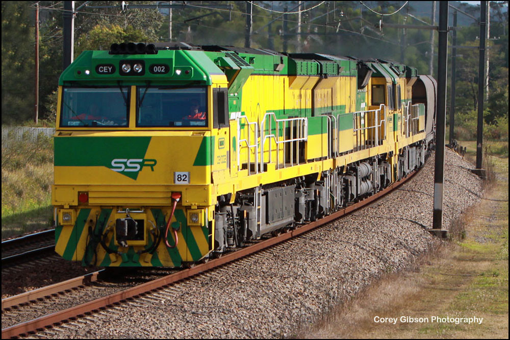 CEY002, CEY005 & CEY007 coal train through Ourimbah by Corey Gibson