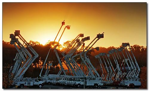 sunset silhouette truck charlotte north boom cranes carolina