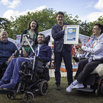 Winners of the Euan's Guide Accessible Festival Best Pop-Up Venue Award   Book Festival Director Nick Barley is presented with the award by members of the Euan's Guide team © Robin Mair