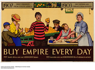 1907 First Oranges from South Africa, 1903 First Sultanas and Currants from Australia... / 1907 : premières oranges venues d'Afrique du Sud. 1903 : premiers raisins de Smyrne et de Corinthe venus d'Australie...