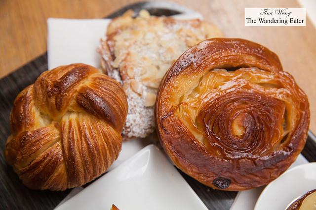 Broiche croissant, almond croissant and kouig-amann