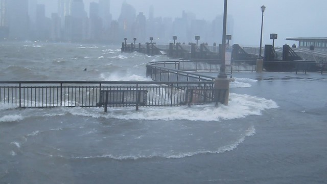 Exchange Place Waterfront during Hurricane Sandy