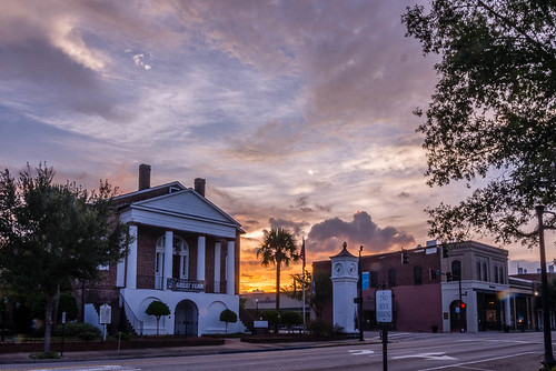 conwaysc sunset hdr cityhall clocktower downtown smalltown southcarolina