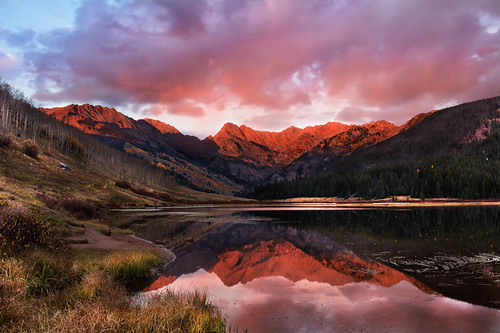 sunset mountain lake reflection fall water grass clouds fallcolor aspen pinetrees alpenglow eaglesnestwilderness gorerange pineylake coloradolandscape pineyriverranch