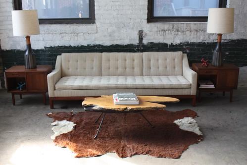 Utterly Rapturous Jens Risom Mid Century Modern Tufted Slope Arm Sofa (U.S.A., 1971)