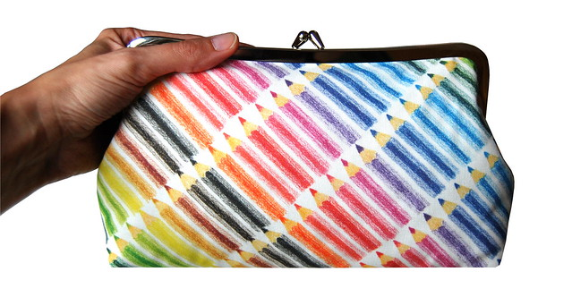 Colored pencils clutch purse
