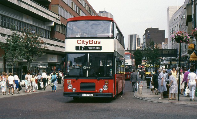 F141 MBC, Leicester City Bus East Lancs bodied Dennis Dominator 141, August 1989.