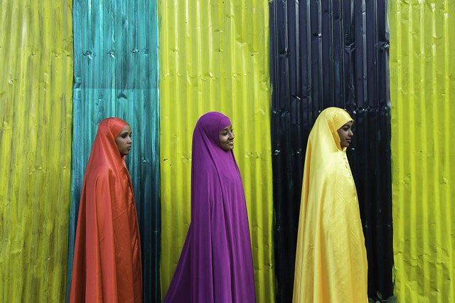girls on wall. Ethiopia