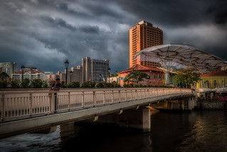 cloudy skies over clarke quay, singapore | by Damian Bere