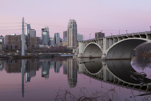 city bridge pink urban usa reflection water minnesota skyline architecture sunrise reflections river mississippi midwest day exterior minneapolis clear reflect pinksky digitalcameraclub
