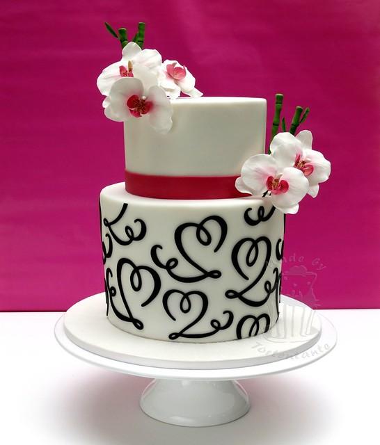 Wedding cake with orchids - Hochzeitstorte mit Orchideen