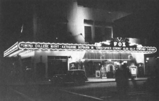 "1933 College Theatre Party at the Fox Theatre in Pomona featured a Katharine Hepburn film and ""Silly Symphonies"" and glee club performances"