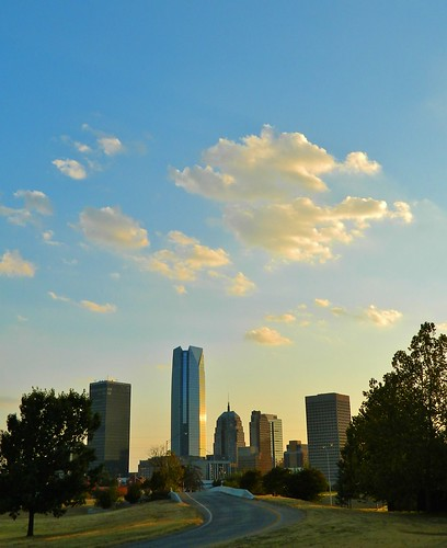 city sunset sky oklahoma skyline architecture clouds buildings downtown skyscrapers okc oklahomacity