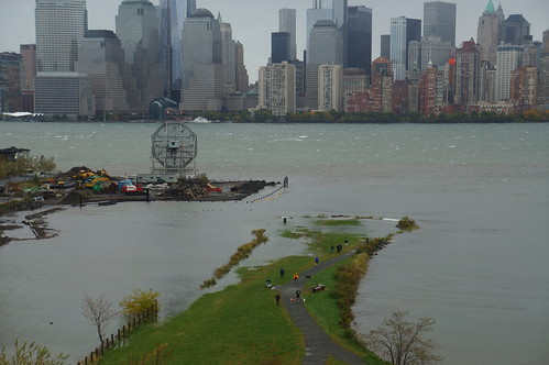 Morris Canal Park with portions flooded by Sandy's storm Surge, high tide Monday morning | by augieray
